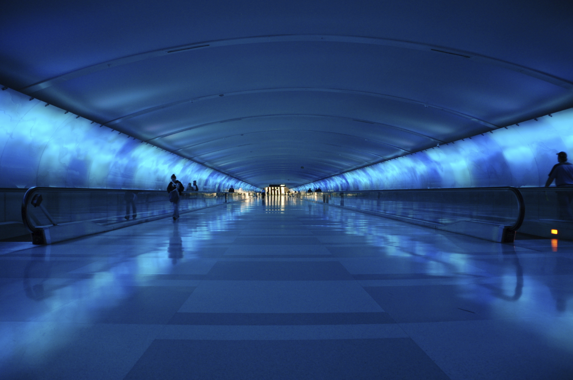 beautiful blue tunnel in detroit airport terminal