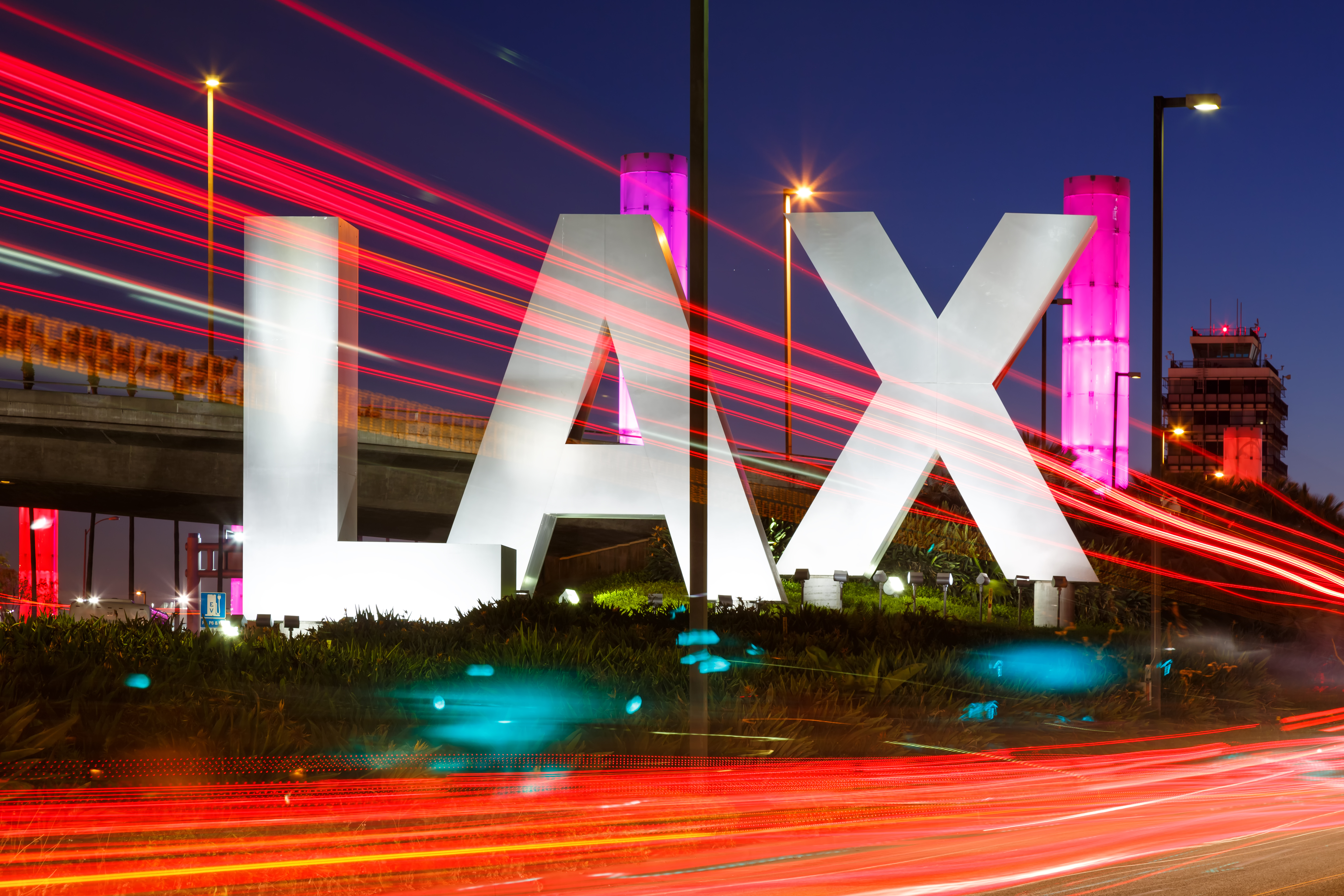 LAX sign at night